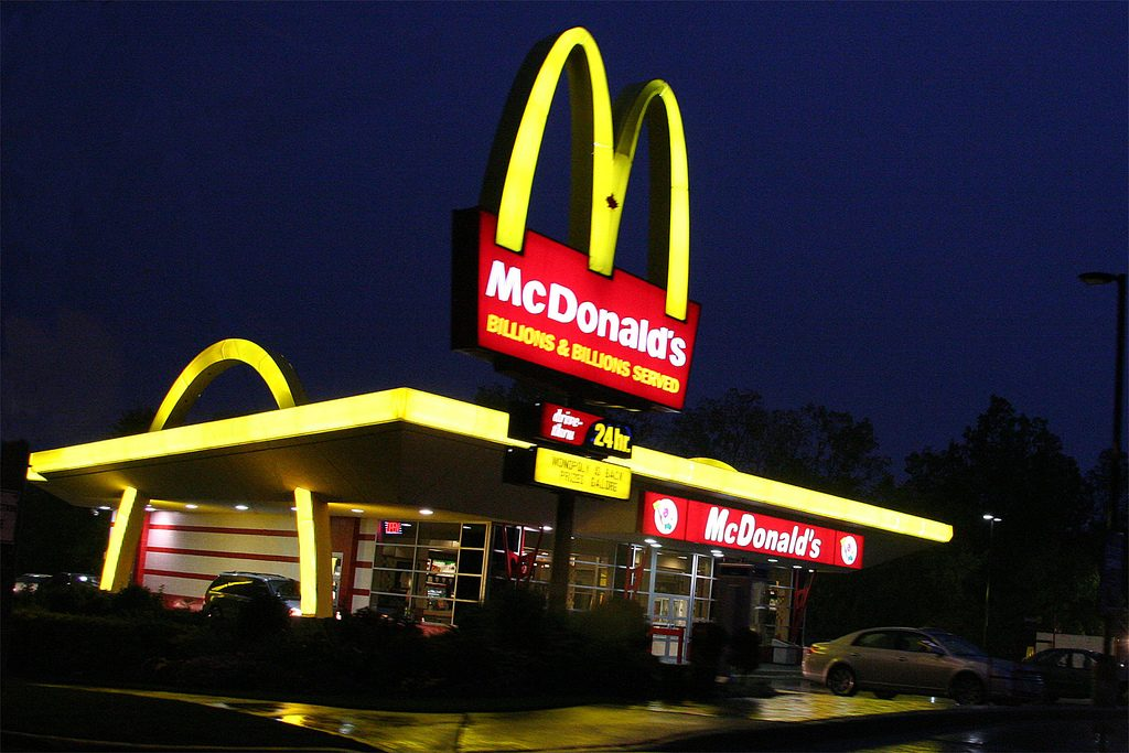 Why you should test your new products in London, Ontario. The first McDonald's in Canada, at Oxford and Wonderland, at night. Photo via Adrien Wayne on Flickr, found with a Creative Commons License.