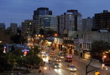Richmond Row at night. Image via Ontario's Southwest on Flickr found with a Creative Commons License.