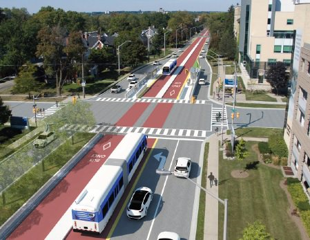 A concept of what rapid transit would look like on Richmond Street. Image via Shift London's Twitter.