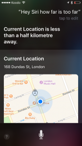 "A screen shot of ""Hey Siri how far is too far"" and her answer is to show me my location on a google map"