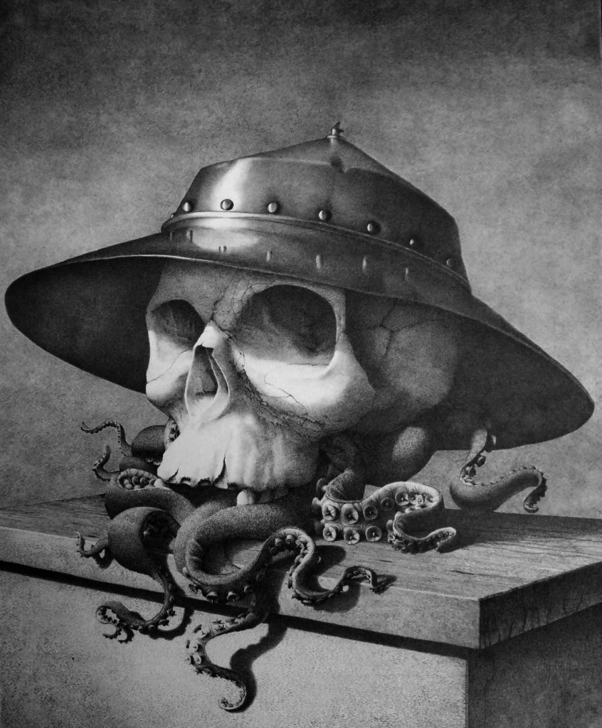 Graphite drawing - surrealism helmet skull octopus