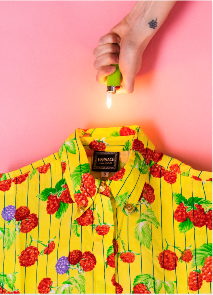 Rage Market - upside-down lighter and tropical printed shirt