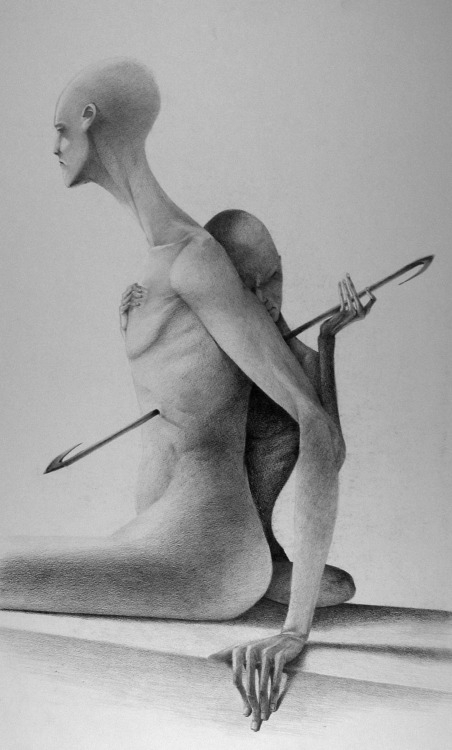Graphite drawing - surrealism sci-fi creatures