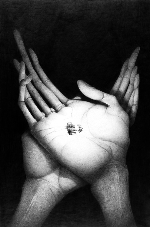 Graphite drawing - surrealism hands