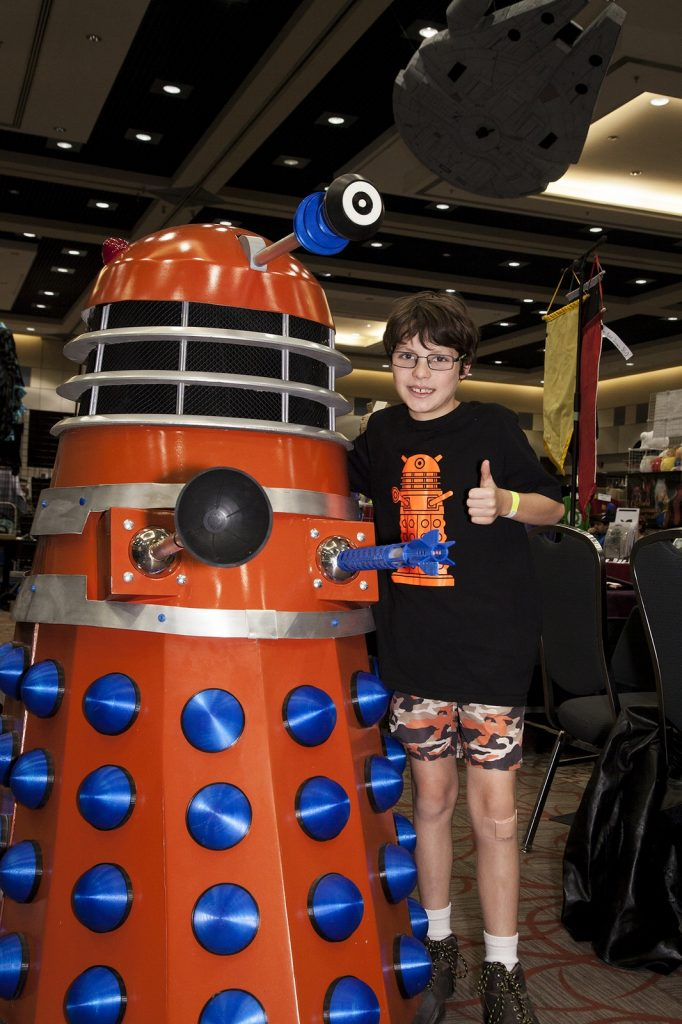 Lance Stronghill with Dalek Omega. Photo by Ed Phin.