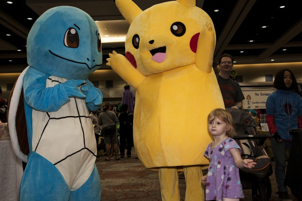 Lita Thompson was awestruck by Pikachu and Squirtle. Photo by Ed Phin.