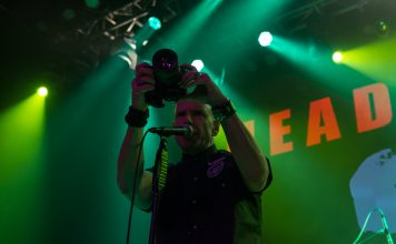 Headstones' Hugh Dillon gets some footage of the LMH crowd.