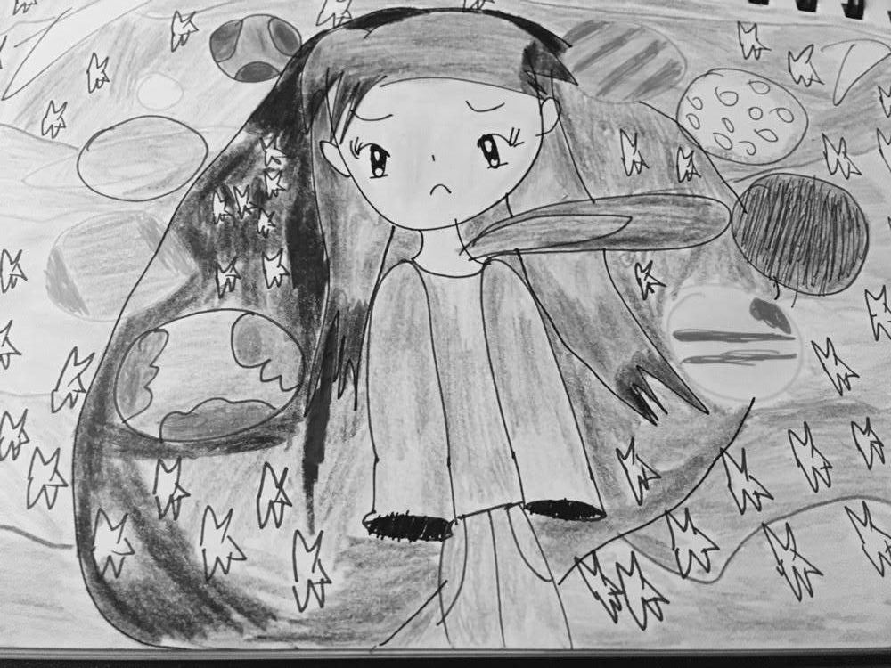 Slow and steady: What I learned from therapy. A drawing of a girl looking sad while planets orbit around her in space.