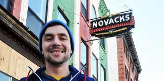 Beer Fest founder and event director, Aaron Brown, in front of the old Novacks at 211 King Street - the site of this weekend's Winter Pop-Up Bar.