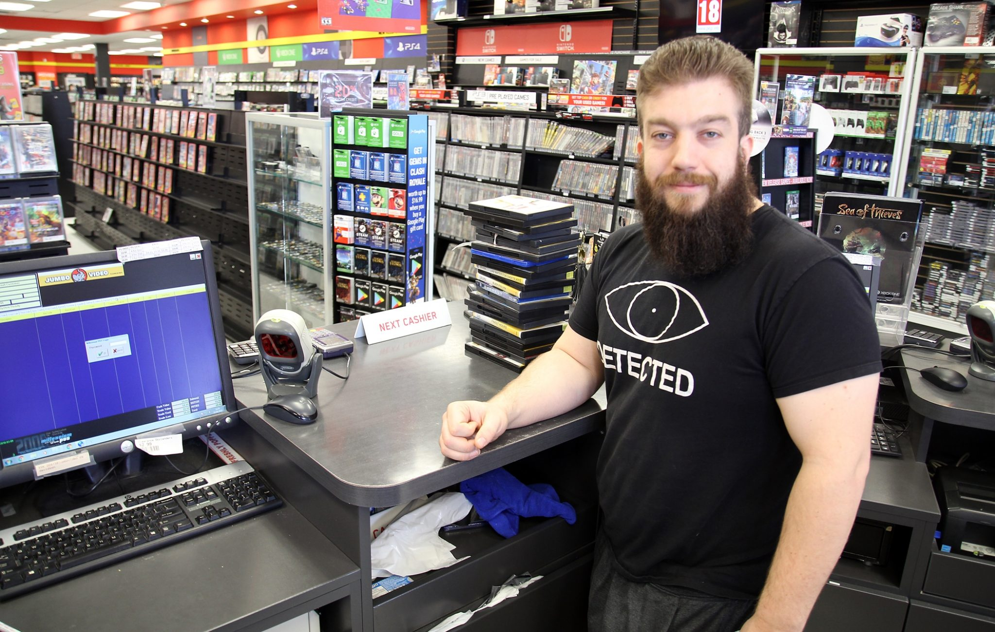 Jumbo Video marketing manager Jake Davidson knows adaptability is key in the video store business.