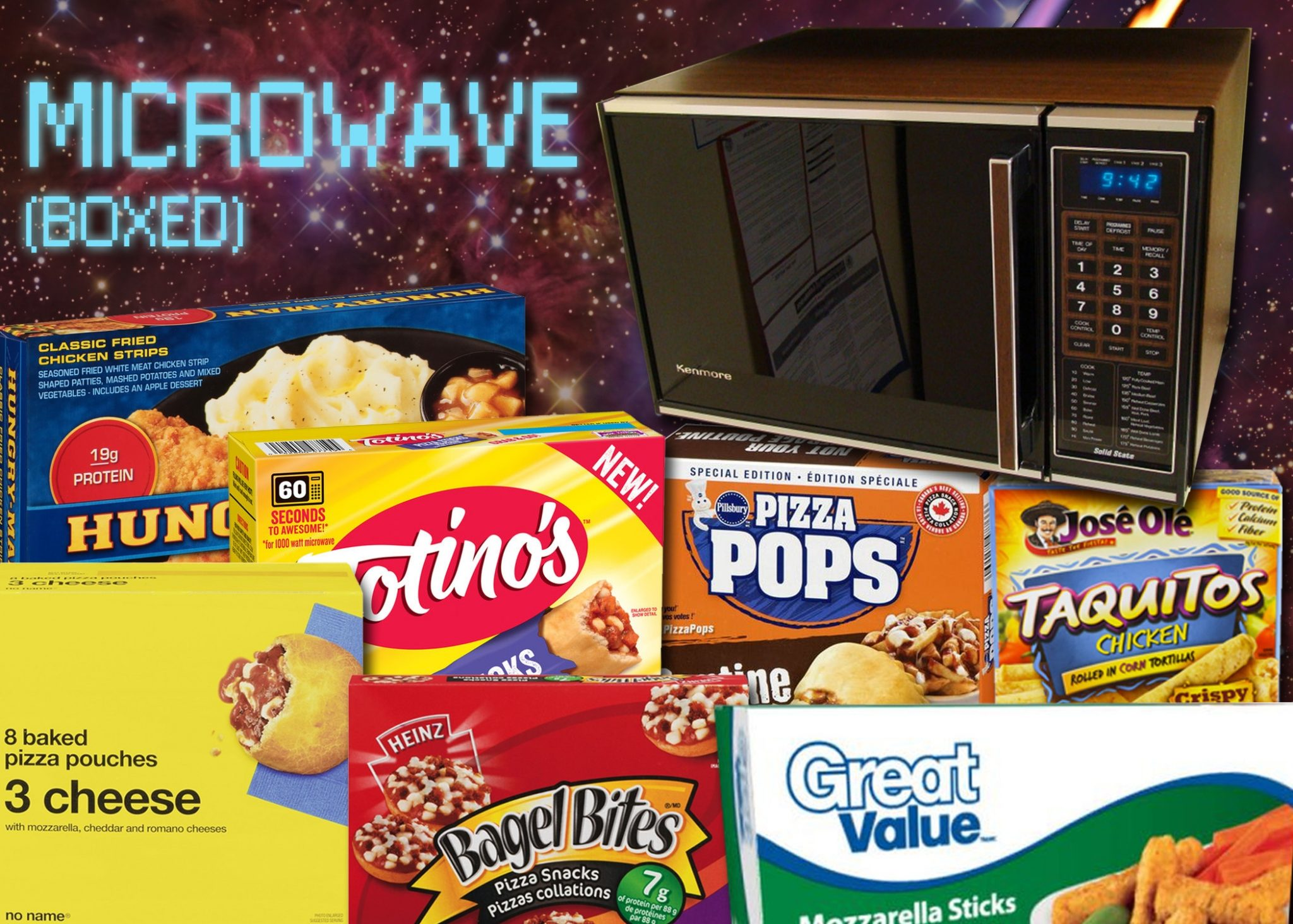 Is it coincidence that so many boxed microwave foods are pizza-related? (spoiler alter: no!)