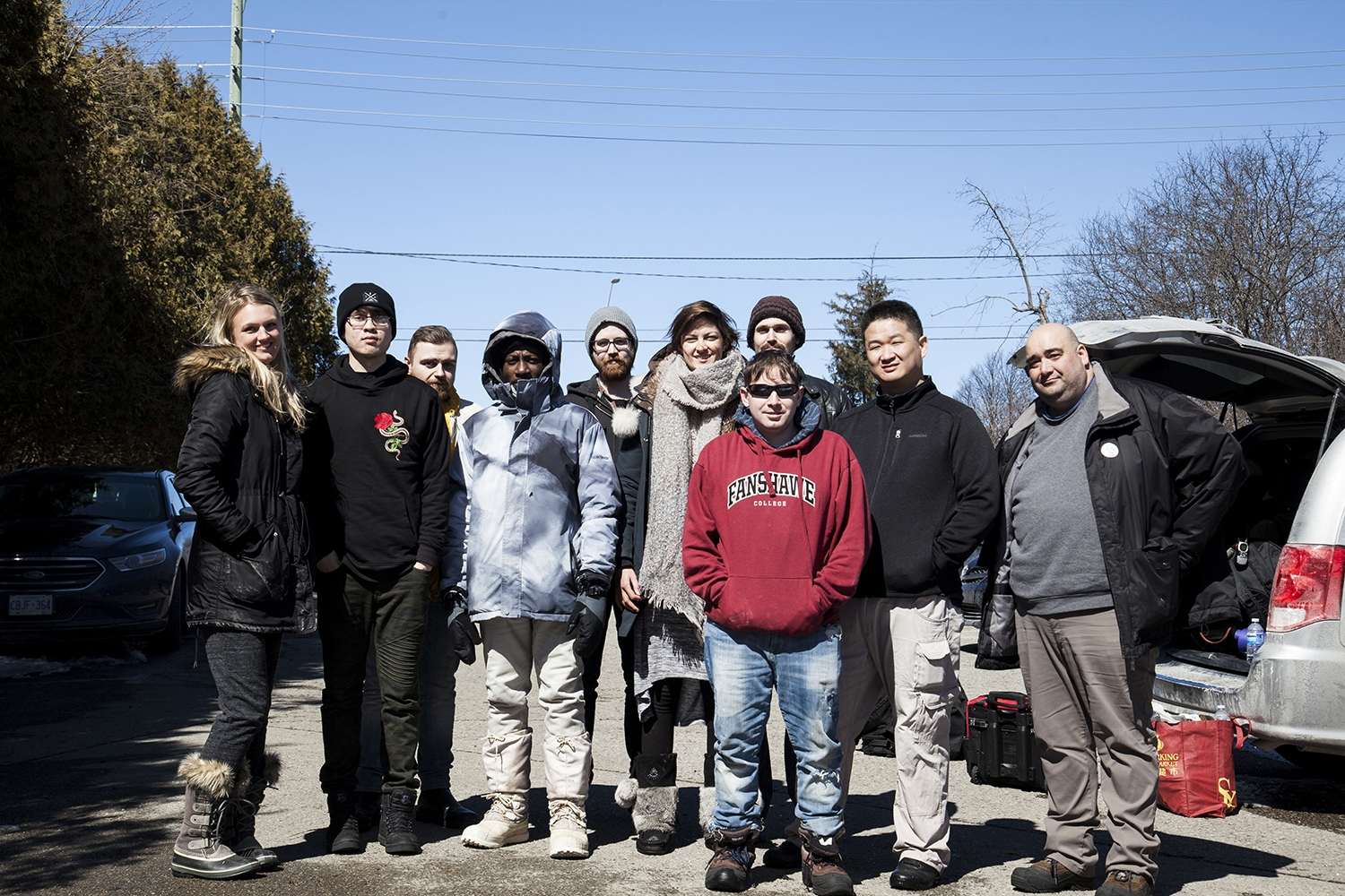 The cast and crew of The Bog Witch on the last day of shooting at Sifton Bog.