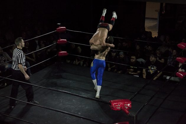 Hung Up! Sebastian Suave suplexes Daniel Garcia onto the ringropes, much to the crowds agony.