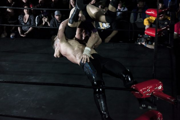 What goes up, must come down... Tyson Dux delivers and punishing superplex from the top rope on Stu Grayson, and the crowd goes wild.
