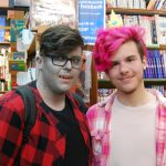 "Skyler Kyte (left) and Kyle Mollard as Marshall Lee and Prince Bubblegum from ""Adventure Time"" in City Lights Bookshop for Free Comic Book Day in London, Ontario. Photo by Emily Stewart."