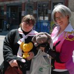 """Cara Elliott (left) and Jessica Cunningham as Sakura from """"Cardcaptor Sakura"""" and Victor from """"Yuri on Ice"""" for Free Comic Book Day in London, Ontario. Photo by Emily Stewart."""