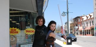 "Henry Bartch and Amber Stallard (Ammie Cosplay) as Kylo Ren and Rey of ""Star Wars"" for Free Comic Book Day."