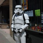 Mike Slabon as a Stormtrooper outside of LA Mood Comics and Games for Free Comic Book Day in London, Ontario. Photo by Emily Stewart.