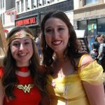 Downtown London Superguides Sam and Julia as Wonder Woman and Princess Belle for Free Comic Book Day in London, Ontario. Photo by Emily Stewart.