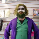 Brad Maxwell as the Joker, standing inside LA Mood Comics and Games for Free Comic Book Day in London, Ontario. Photo by Emily Stewart.