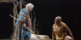 Martha Henry as Prospero and Michael Blake as Caliban in The Tempest. Photography by David Hou.
