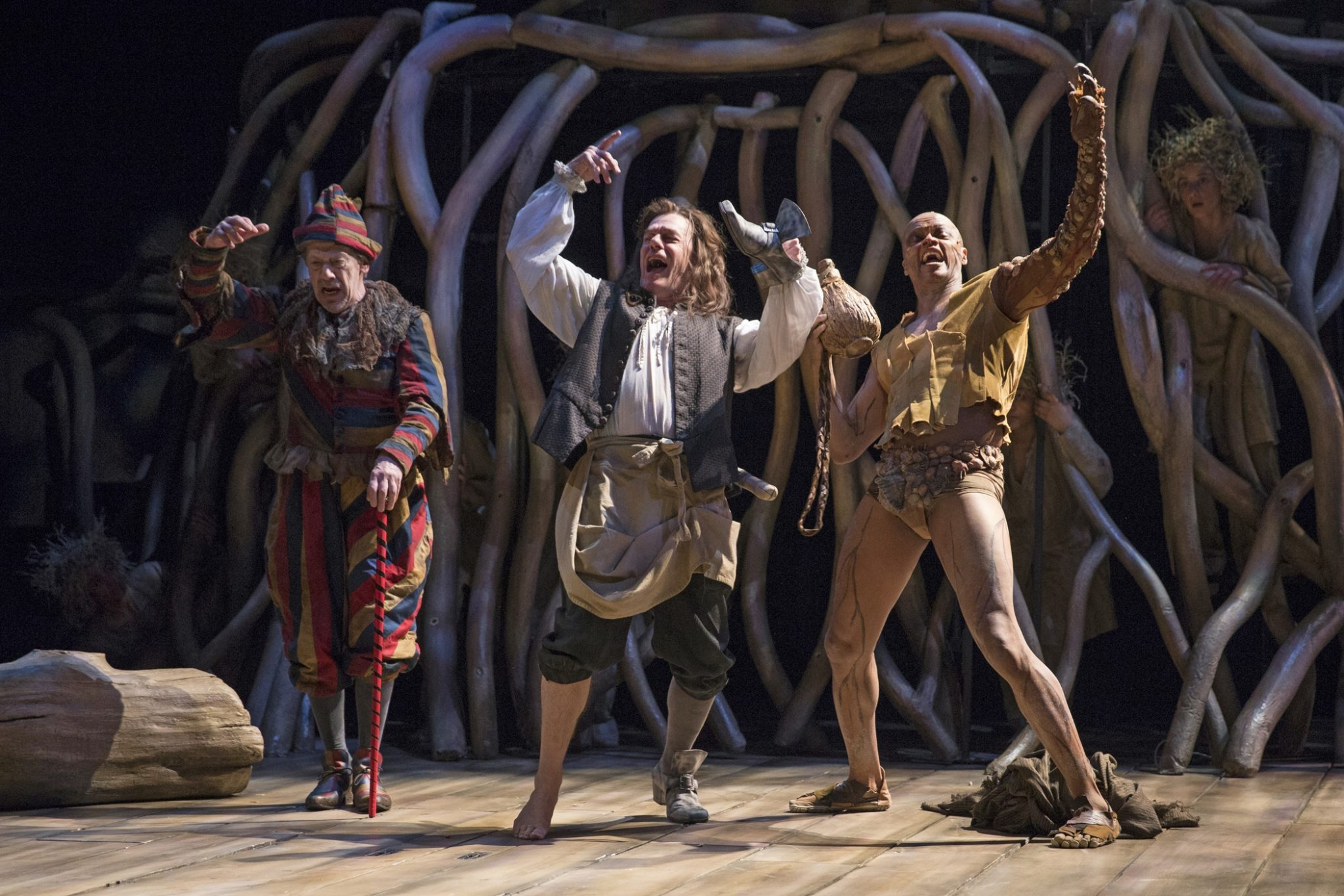 From left: Stephen Ouimette as Trinculo, Tom McCamus as Stephano and Michael Blake as Caliban in The Tempest. Photography by David Hou.