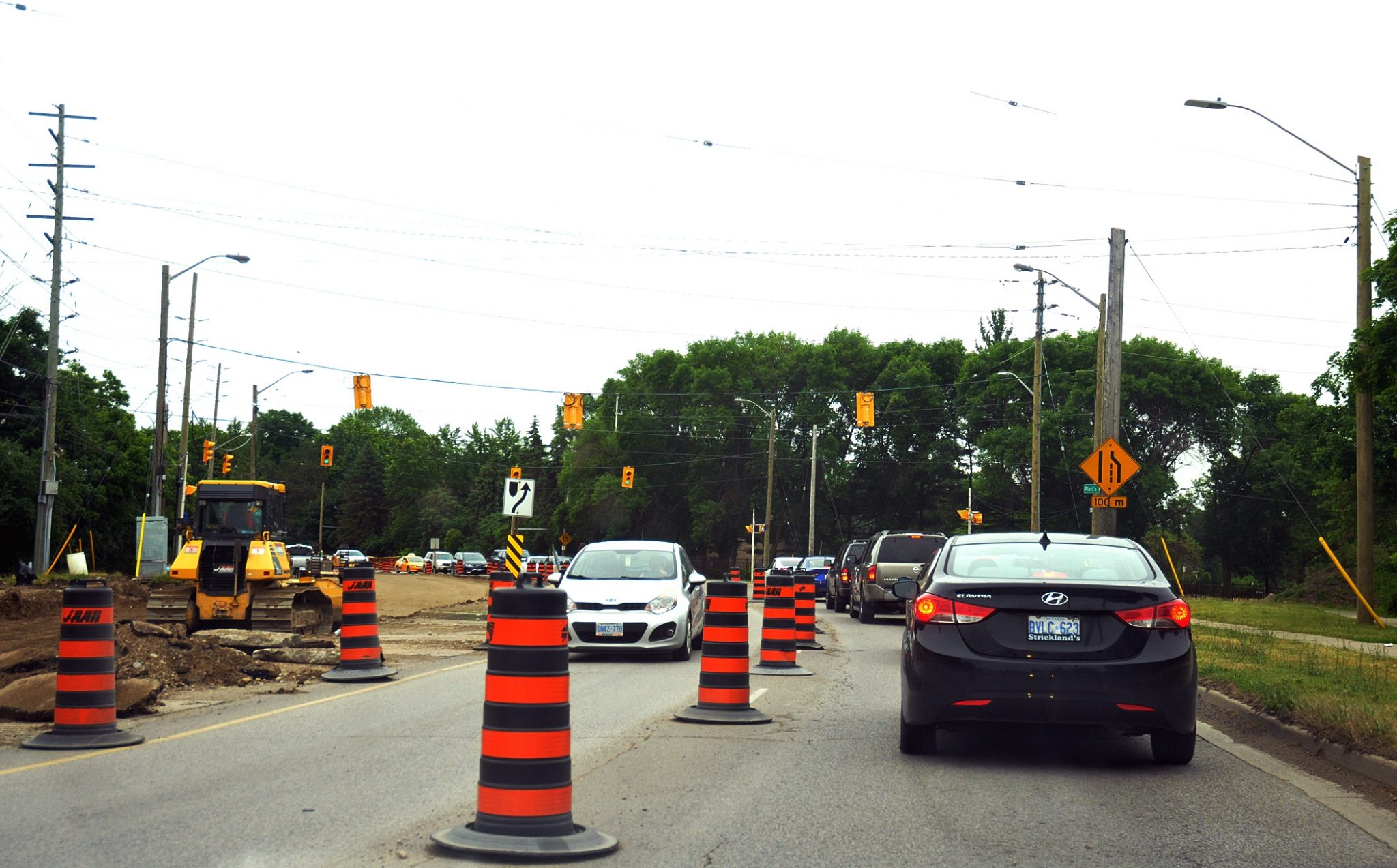 Aww yeah! Twists, turns, and more pylons along Western Road.