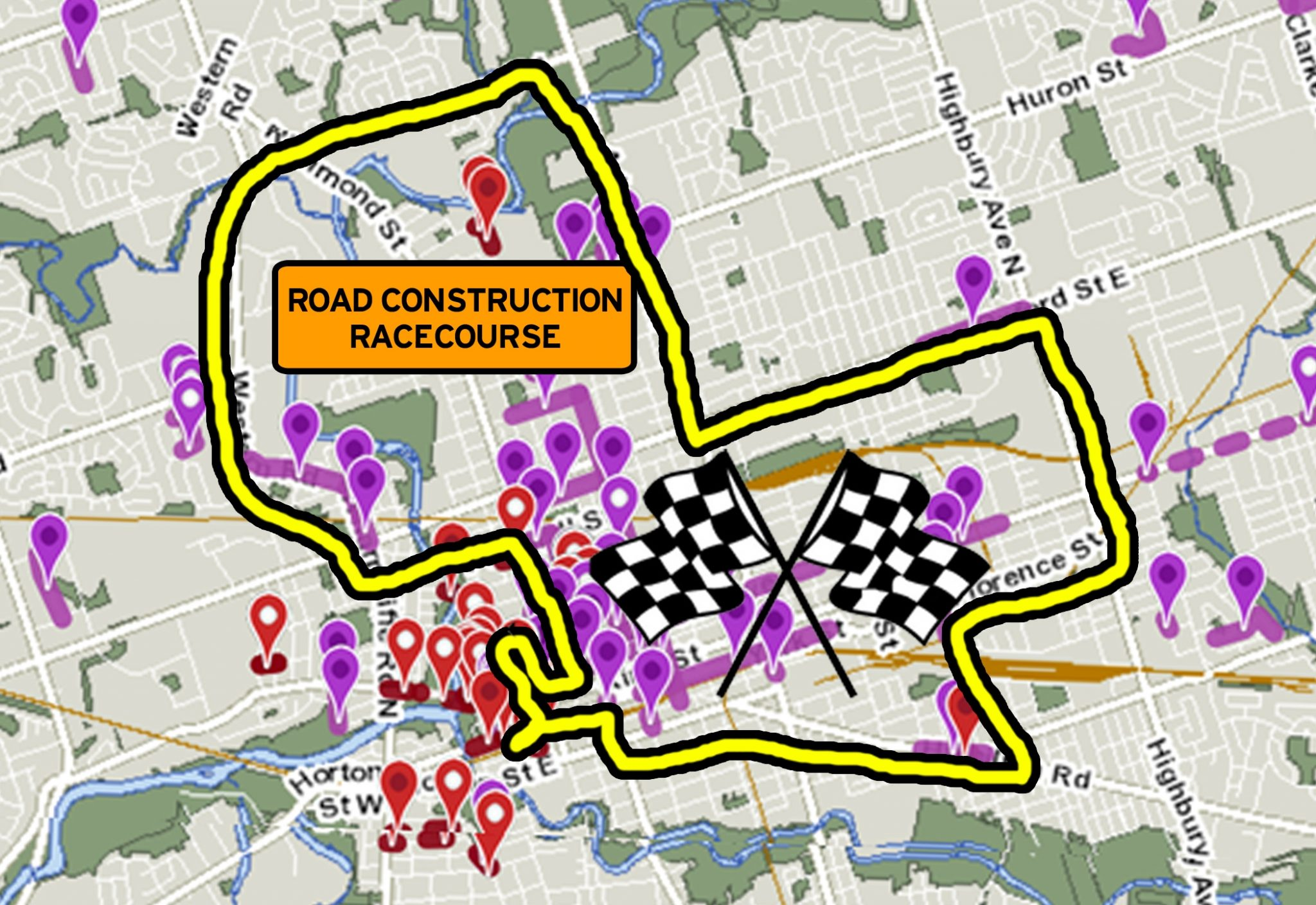 Starting at LondonFuse, here's your 2018 Road Construction Grand Prix route.