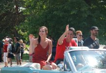 Thank You Ilderton. Tessa Virtue and Scott Moir at the Thank You Ilderton Parade in Ilderton, Ontario. Photo by Emily Stewart.