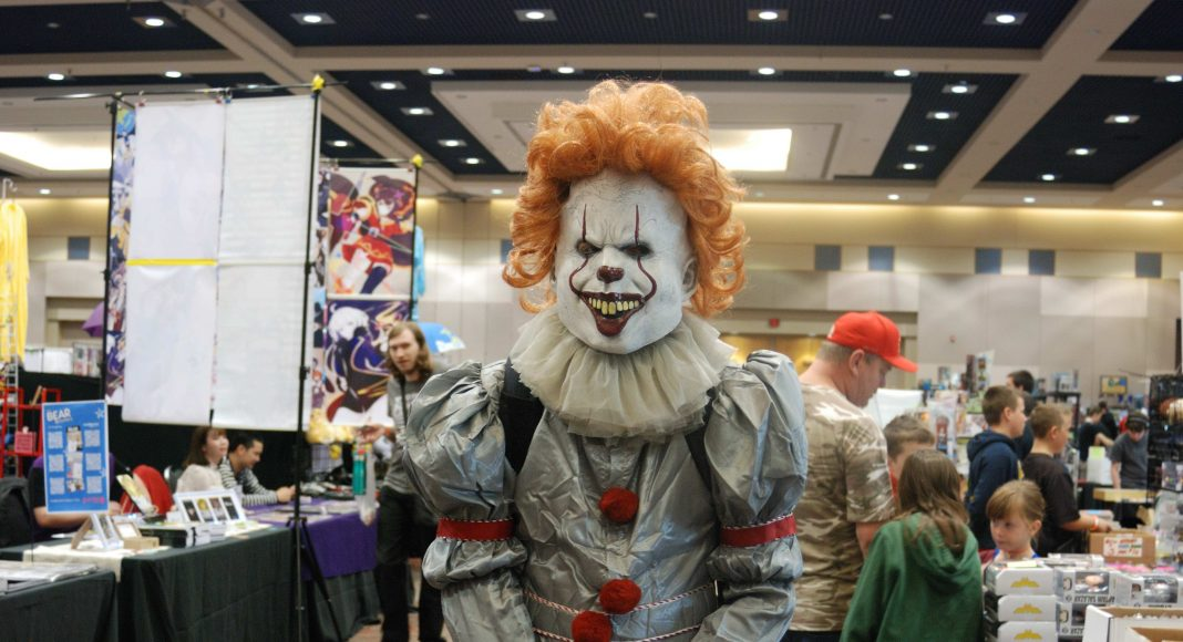 Forest City Comicon 2018. Ian Taylor cosplaying as Pennywise from Stephen King's IT at Forest City Comicon in London, Ontario.