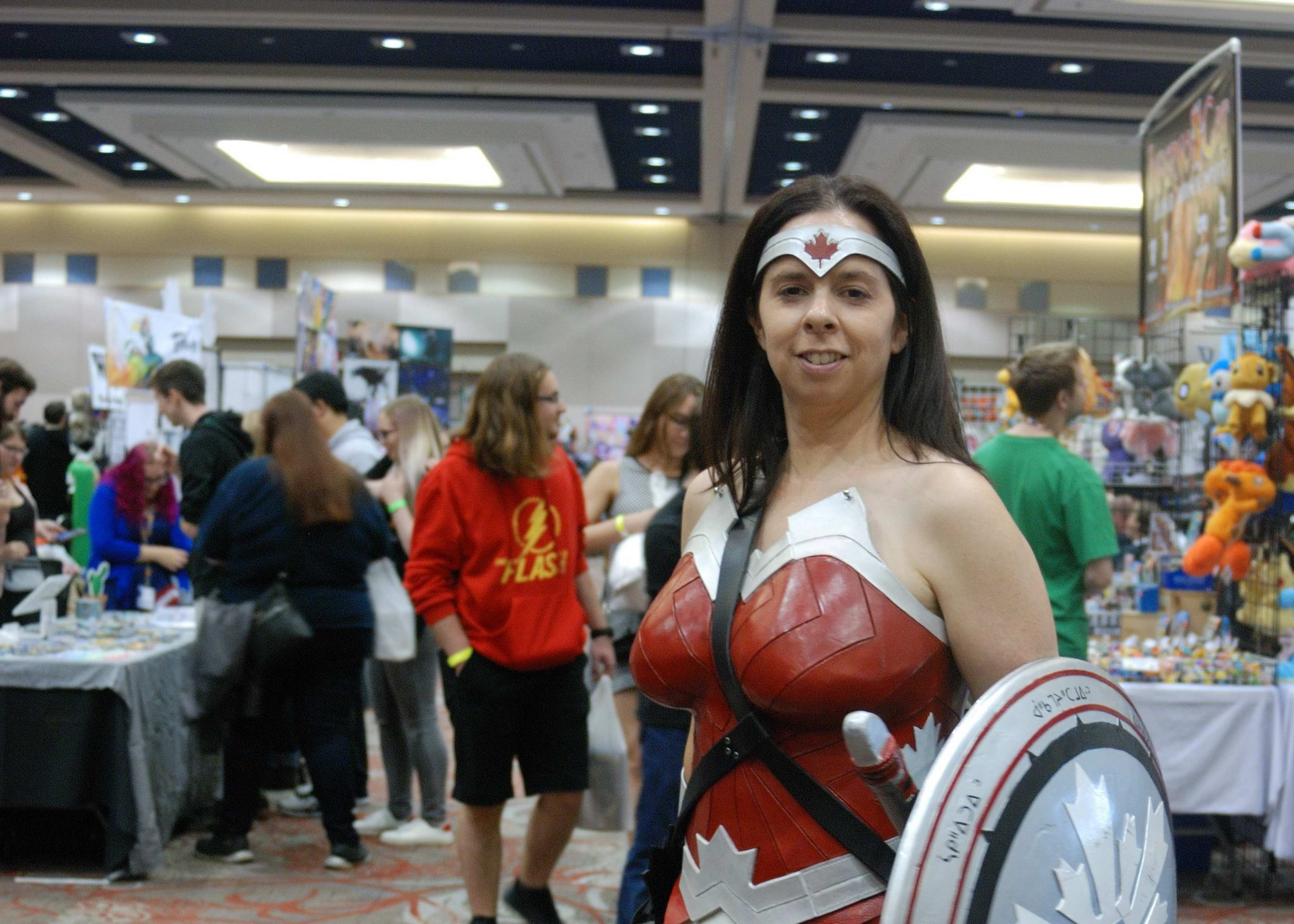 Forest City Comicon 2018. Cosplayer Canada Wonder Woman as a Canadian version of Wonder Woman at Forest City Comicon in London, Ontario.