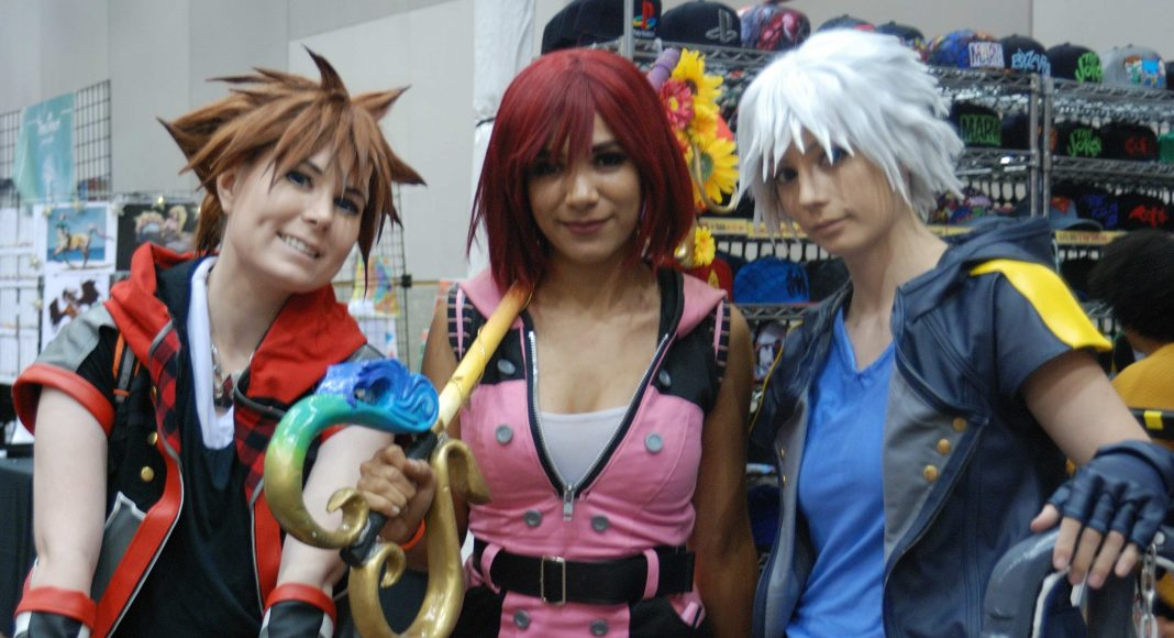 Forest City Comicon 2018. Cosplayers Danielle White and Becky Hamilton of Eclipse Cosplay, along with cosplayer Bec of Hearts cosplaying as Sora, Kairi, and Riku from Kingdom Hearts at Forest City Comicon in London, Ontario.