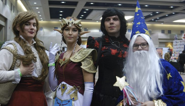 Forest City Comicon 2018. Eric cosplaying as a Victorian, Jess Hodgins cosplaying as Zelda, Matt Dawe cosplaying as a witch, and Destiny Hodgins cosplaying as a wizard at Forest City Comicon 2018 in London, Ontario.