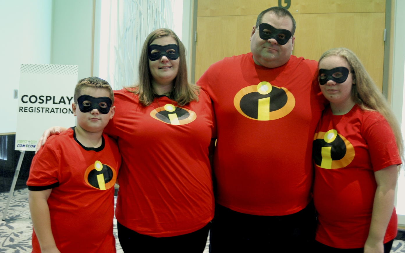 Forest City Comicon 2018. Gavin, Christine, Jamie and Kennedy Sweetman cosplaying as The Incredible family at Forest City Comicon in London, Ontario.