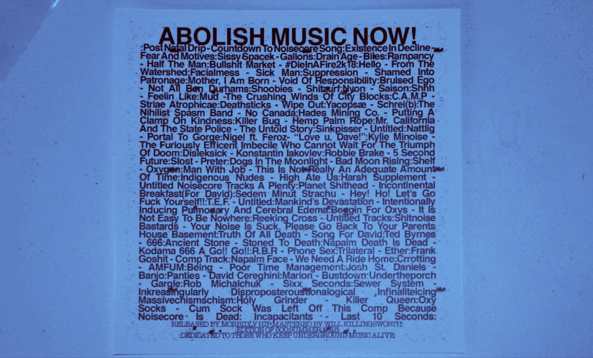 Abolish Music Now! boasts an impressive lineup of 60 acts.
