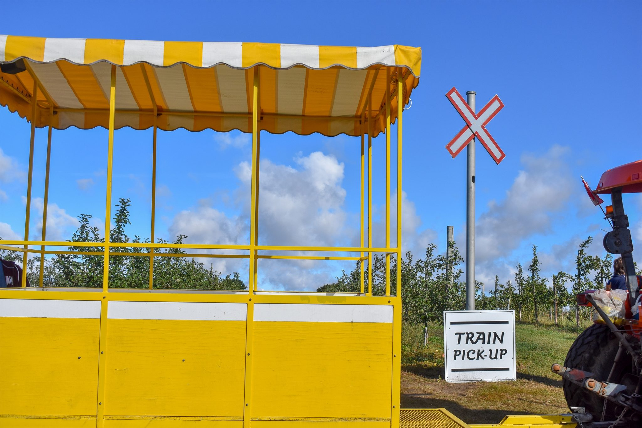 Catch the train from Apple Land's orchards back to your car with your heavy bags of apples. Photo by Laura Thorne.