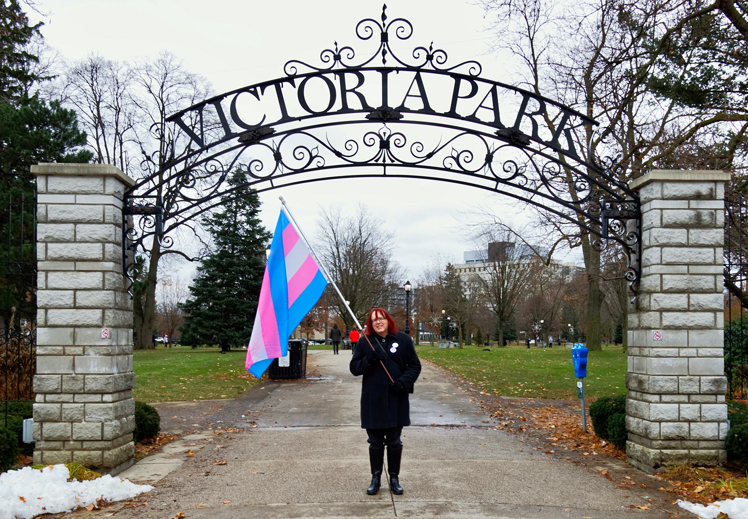 Desiree Terrevonne at the gates of Victoria Park. Photo by Thomas Davies.