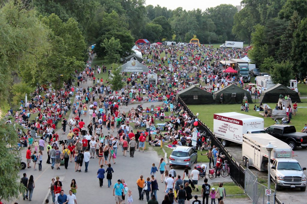 A crowd shot of Harris Park during Canada Day in 2010 in London, Ontario. Photo courtesy of Randy Warden
