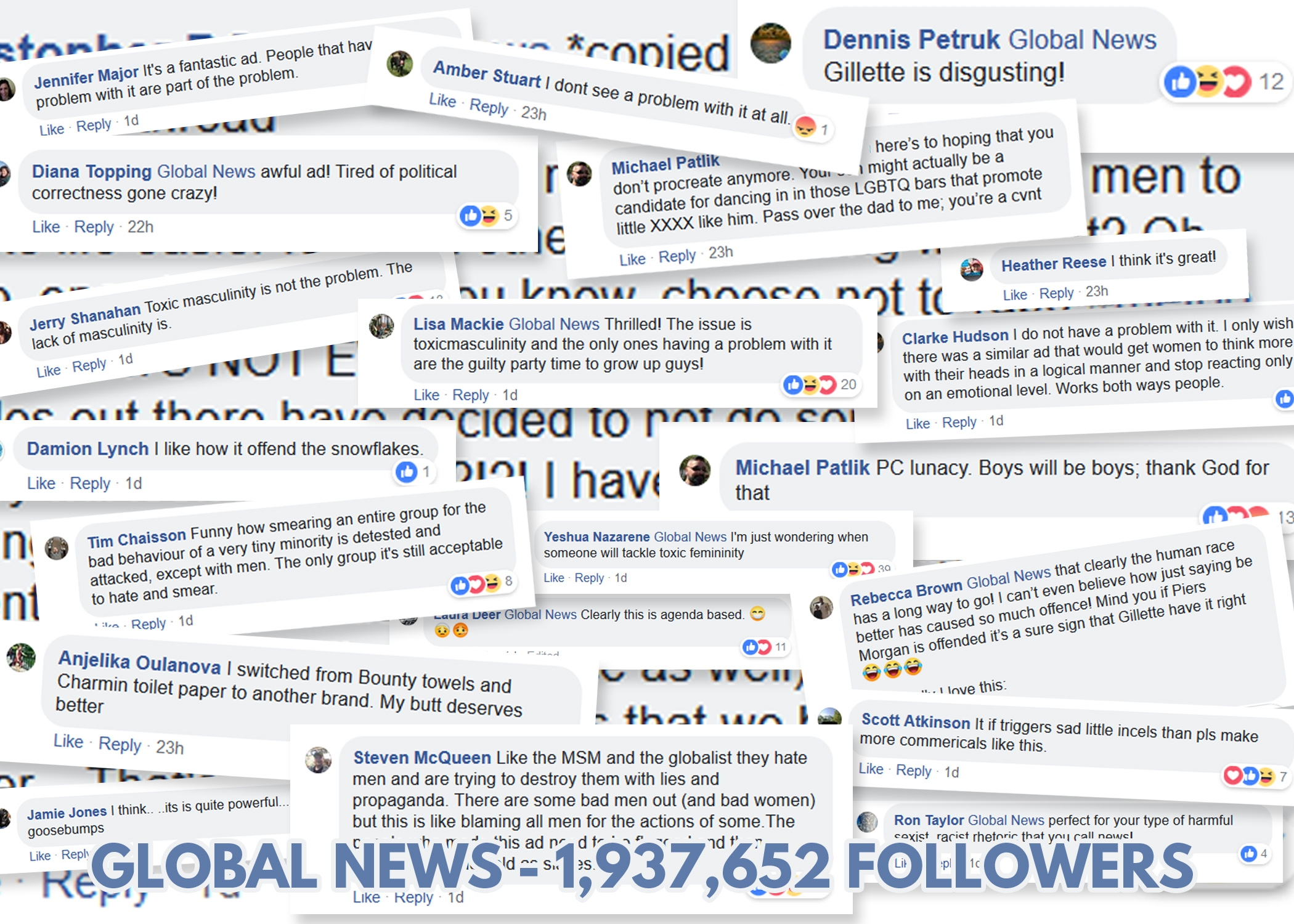 Global News (not to be confused with Global News London) facebook comments reach an audience of more than 1.9 million.