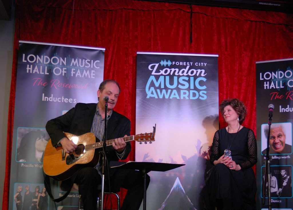 Steve Piticco and Marie Bottrell performing at the London Music Hall of Fame in London, Ontario.