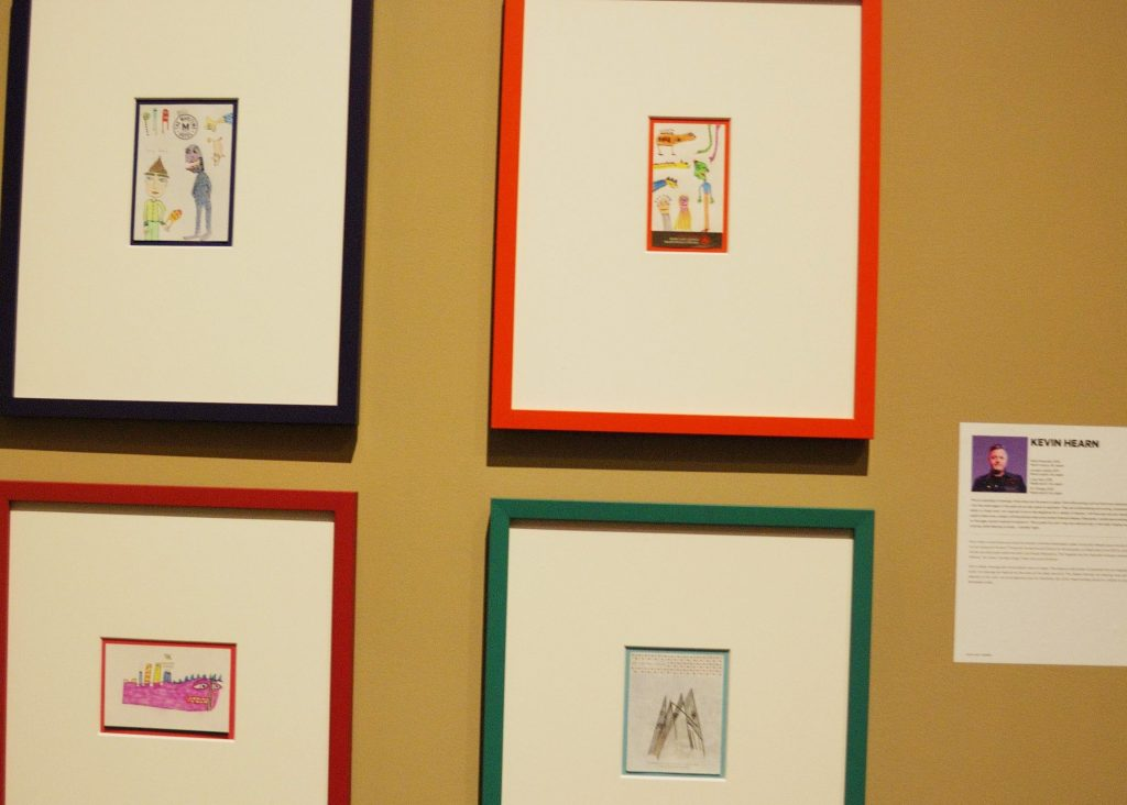 Four drawings by Kevin Hearn of the Bare Naked Ladies at Museum London in London, Ontario.