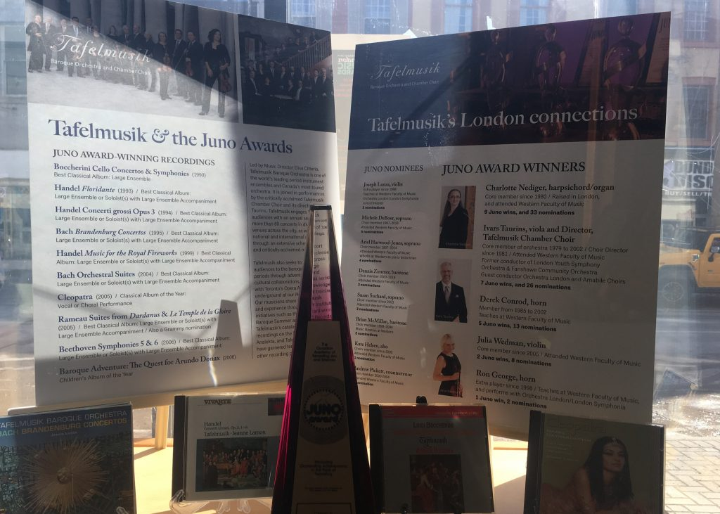 The display case for Tafelmusik at the London Music Hall of Fame in London, ON.
