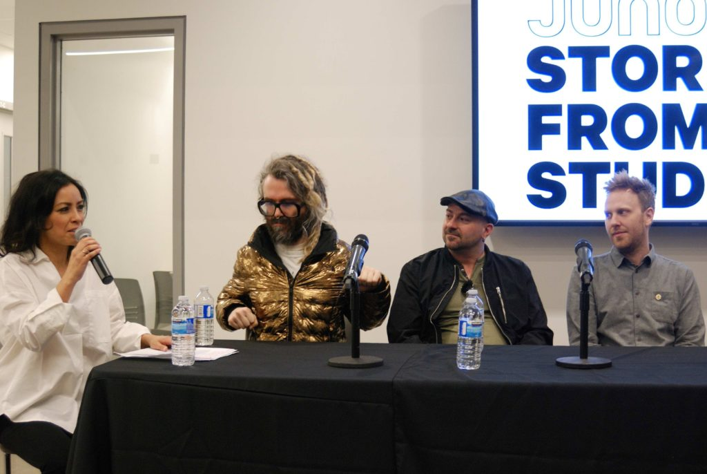 Left to Right: Emm Gryner, Shawn Everett, Ben Kaplan, and Mike Wise at the Stories from the Studio Panel.