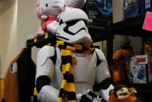A stormtrooper mannequin with a Hufflepuff yellow and black scarf at Forest City ComiCon in London, Ontario
