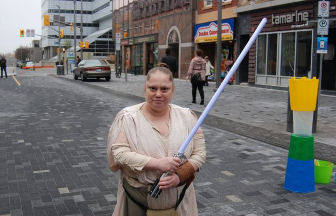 Nancy Kovacs as Rey from Star Wars during Free Comic Book Day in London, Ontario