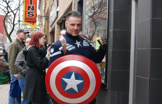 Geoff MacDonald of Messiah Complex Cosplay as Captain America outside of LA Mood Comics and Games in London, Ontario