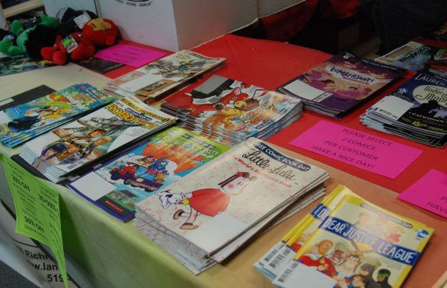 Assorted comics from the table at LA Mood during Free Comic Book Day 2019 in London, Ontario.