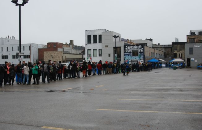 The lineup for Heroes Comics during Free Comic Book Day 2019 in London, Ontario.