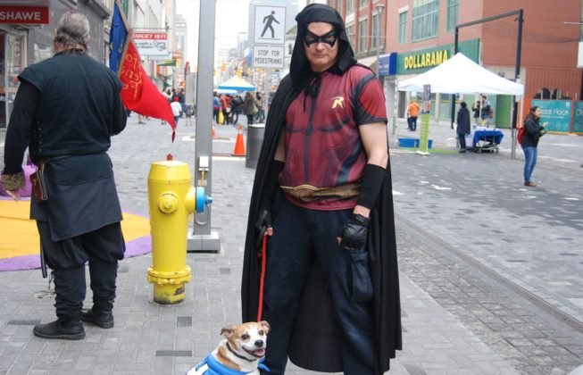Ron Pokraka and Magnus as Arkham Asylum Robin and Underdog during Free Comic Book Day in London, Ontario