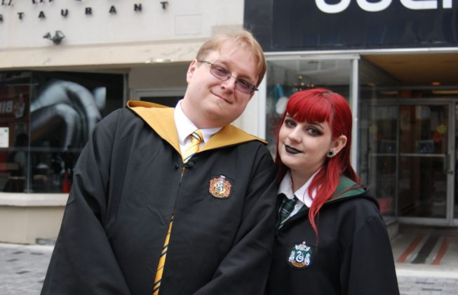 Sam and Lenore O'Brien as Hogwarts students from the Harry Potter series